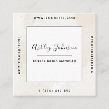neutral light beige pastel marble qr code clean  square business card