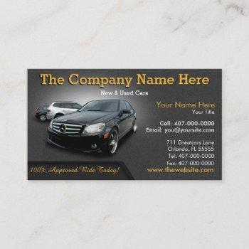 new & used car sales - auto sales double sided business card
