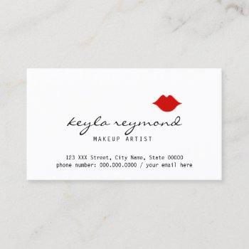 nice make-up makeup-artist red lips white business card