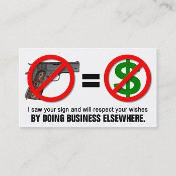 """no guns no money"" missouri ccw business card (1a)"
