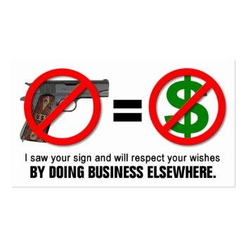 "Small ""no Guns No Money"" Missouri Ccw Business Card (1a) Front View"