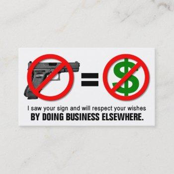 """no guns no money"" missouri ccw business card (1f)"