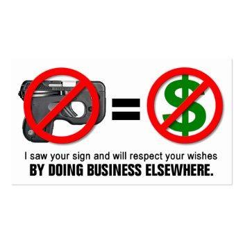"Small ""no Guns No Money"" Missouri Ccw Business Card (1g) Front View"