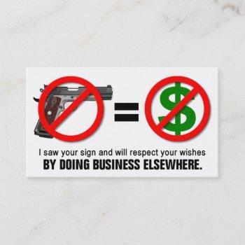 """no guns no money"" missouri ccw business card (1l)"