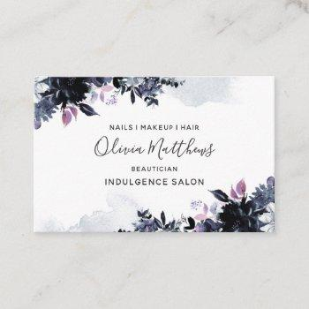nocturnal floral watercolor navy blue dark gray business card