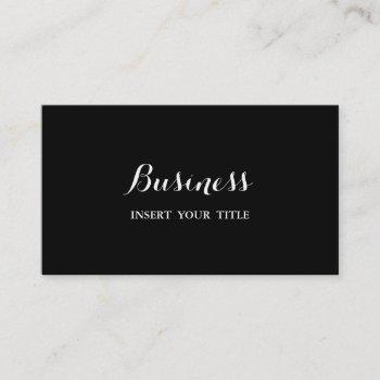 noir minimalist trendy elegant calligraphic business card
