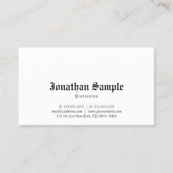 nostalgic elegant classic old english font plain business card