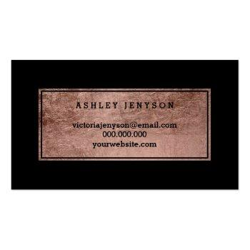 Small Notary Elegant Rose Gold Typography Black Business Card Back View