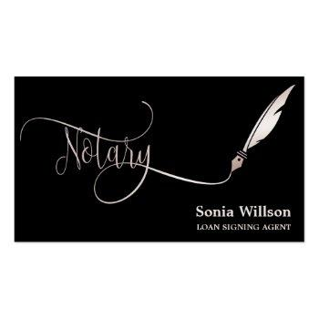 Small Notary Elegant Rose Gold Typography Feather Pen Business Card Front View