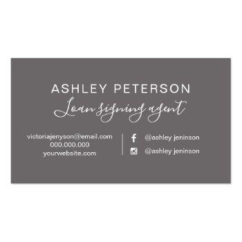 Small Notary Elegant Typography Grey Rose Gold Glitter Business Card Back View
