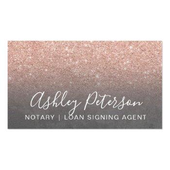 Small Notary Elegant Typography Grey Rose Gold Glitter Business Card Front View