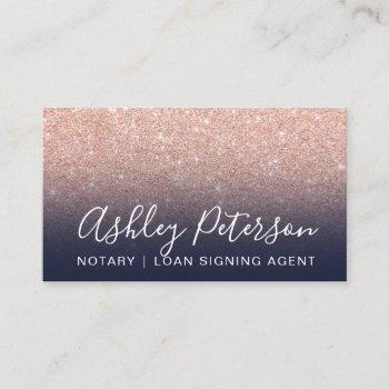 notary elegant typography navy rose gold glitter business card