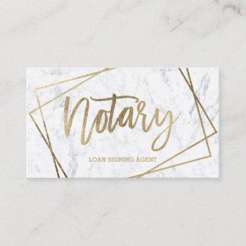 notary faux gold script geometric marble business card