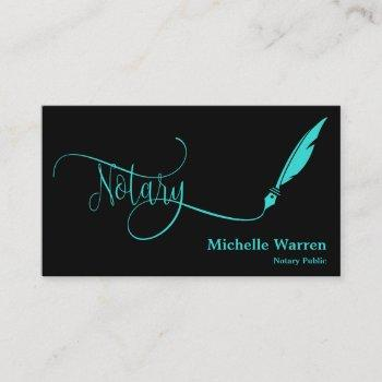 notary feather pen loan signing turquoise business card