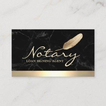 notary loan signing agent gold border black marble business card
