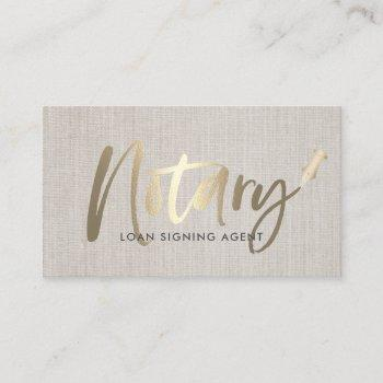 notary loan signing agent gold typography linen business card