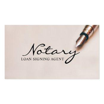 Small Notary Loan Signing Agent Modern Elegant Business Card Front View