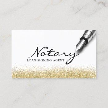 notary loan signing agent modern gold glitter business card