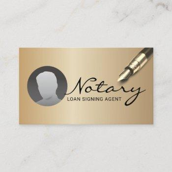notary loan signing agent modern gold photo business card
