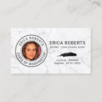 notary loan signing agent modern marble photo business card