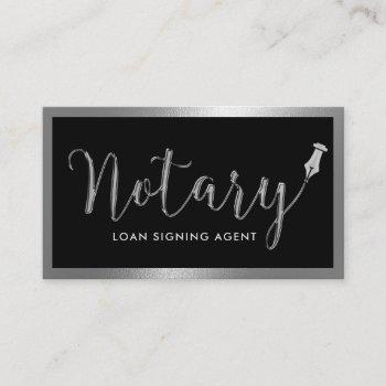 notary loan signing agent modern metal framed business card