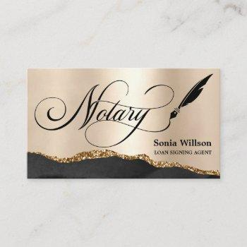 notary loan signing agent modern rose gold agate b business card