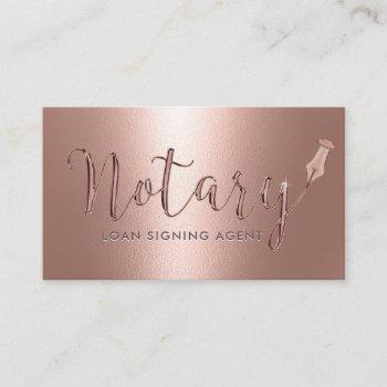 notary loan signing agent modern rose gold business card