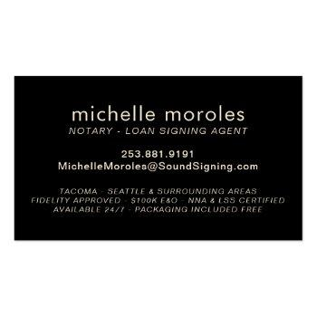 Small Notary - Loan Signing Agent Professional Business Card Back View