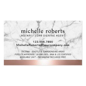 Small Notary Loan Signing Agent Rose Gold Border Marble Business Card Back View