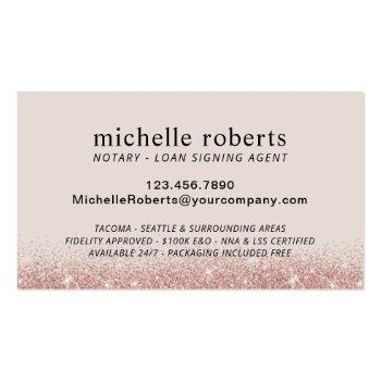Small Notary Loan Signing Agent Rose Gold Glitter Photo Business Card Back View