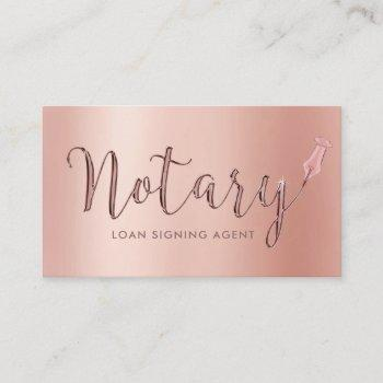 notary loan signing agent rose gold typography business card