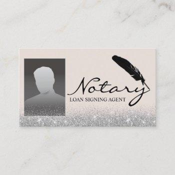 notary loan signing agent silver glitter photo business card