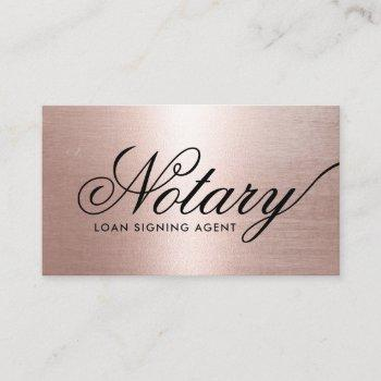 notary loan signing agent typography rose gold business card