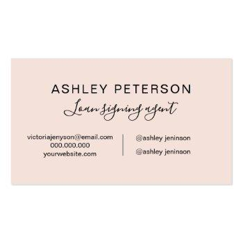 Small Notary Logo Typography Pink Minimalist Elegant Business Card Back View