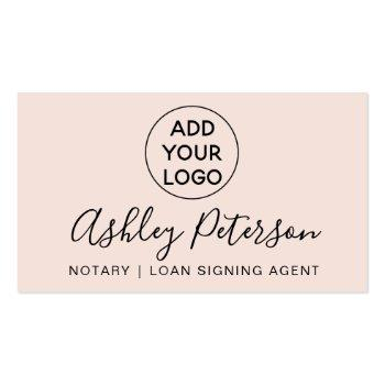 Small Notary Logo Typography Pink Minimalist Elegant Business Card Front View