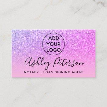 notary logo typography purple pink glitter business card