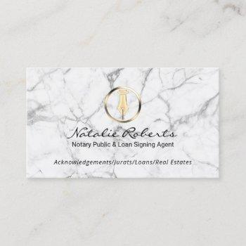 notary public gold pen loan signing agent marble business card