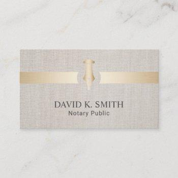 notary public golden pen elegant linen business card
