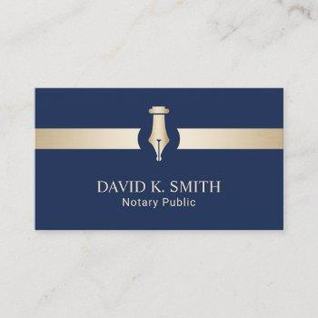 notary public golden pen elegant navy blue business card