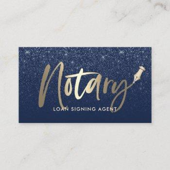 notary public loan agent modern navy & gold business card