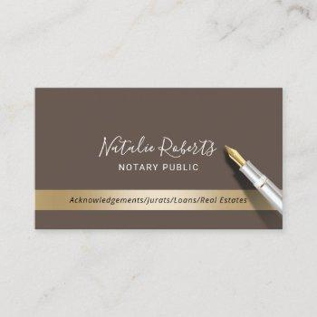 notary public loan signing agent brown & gold business card