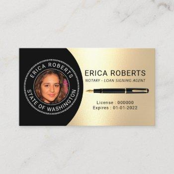 notary public loan signing agent gold photo business card