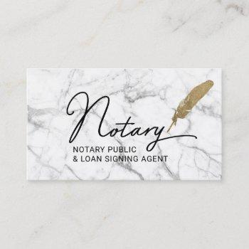 notary public loan signing agent gold quill marble business card