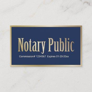notary public loan signing agent navy & gold business card