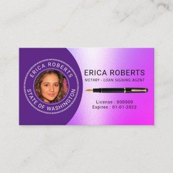 notary public loan signing agent purple photo business card