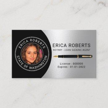 notary public loan signing agent silver photo business card