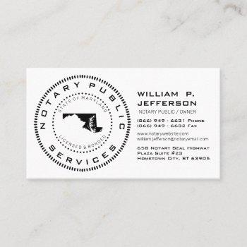 notary public maryland business card
