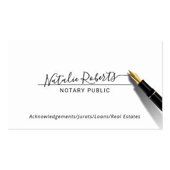Small Notary Public Minimalist Script Signature Business Card Front View