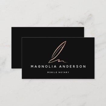 notary public signing agent rose gold foil quill b business card