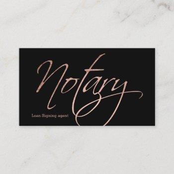 notary script faux rose gold typography black business card